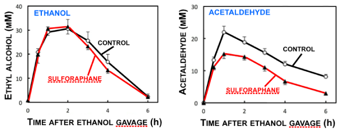 Blood Levels Of Ethanol And Acetaldehyde In Sulforaphane-treated Mice